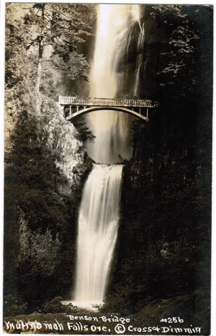 OR, Multnomah Falls - Benson Bridge - Cross and Dimmitt RPPC postcard - R00325