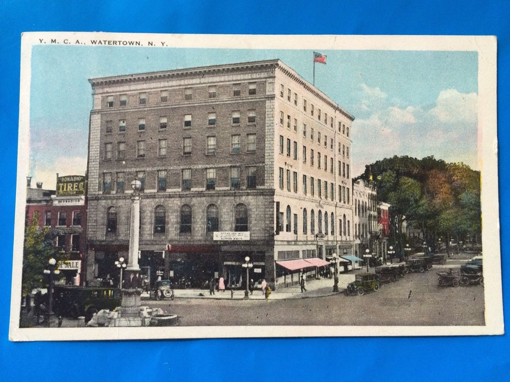 NY, Watertown - YMCA and Bonadio Tires sign, postcard - H15049