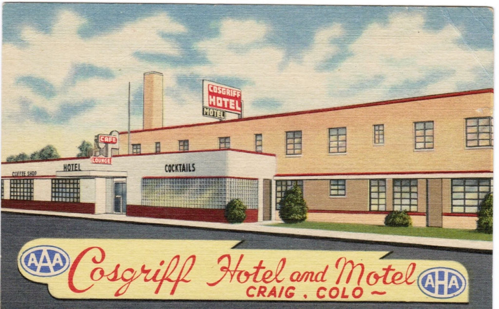 CO, Craig - Cosgriff Hotel and Motel linen postcard - B08167