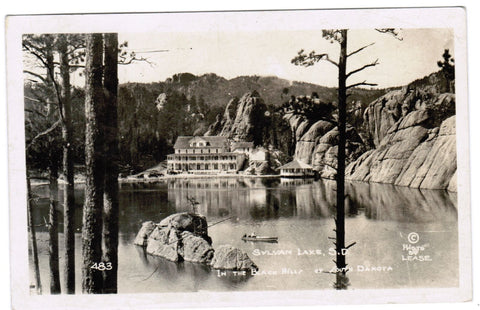 SD, Sylvan Lake - view across lake, hotel - Lease RPPC - B06304