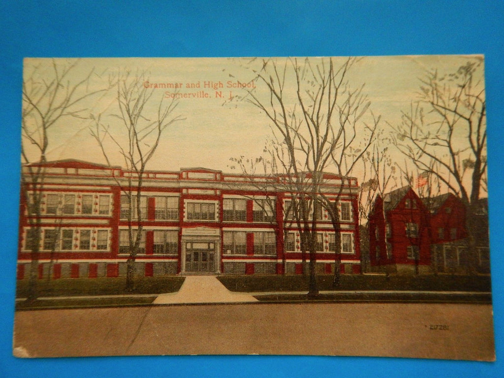 NJ, Somerville - Grammar and High School - Line and Co postcard - A12575
