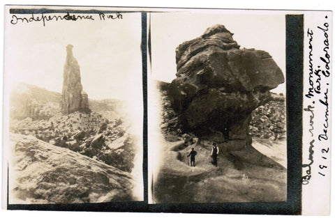 CO, Monument Park - Independence & Balance Rocks Dec 1912 - RPPC - D06171