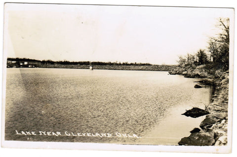 OK, Cleveland - shoreline of lake - RPPC - B06301