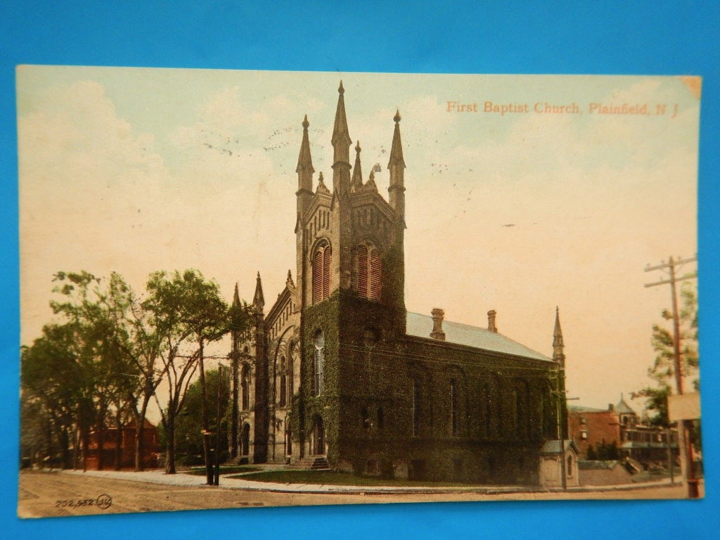 NJ, Plainfield - First Baptist Church postcard - H15077