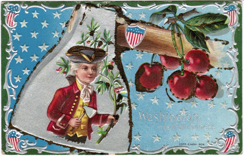 Vintage Patriotic Nash Postcard Young Washington with ax and branch - w02244