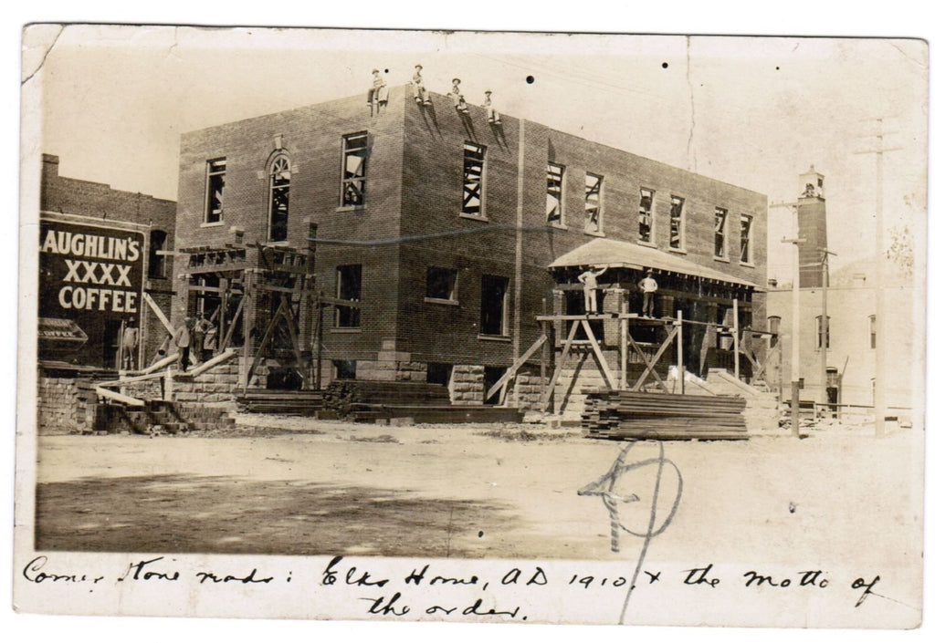 CO, Salida - Elks Home under construction in 1910, workers - RPPC - J04253