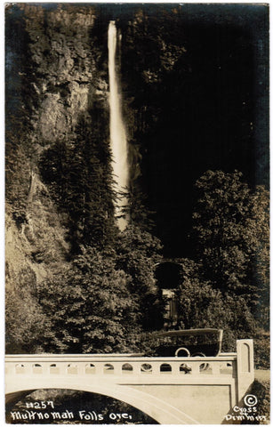 OR, Multnomah Falls - car, bridge, falls - Cross and Dimmitt RPPC  - R00331