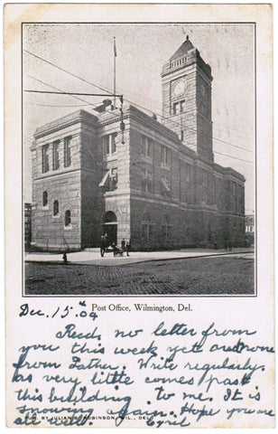 DE, Wilmington - Post Office - Julian B Robinson postcard - S01472