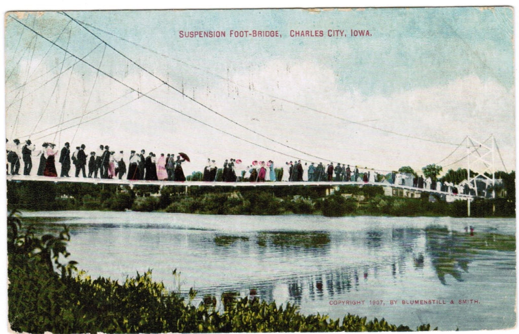 IA, Charles City - Suspension Foot Bridge - Blumenstill and Smith Card - H04105