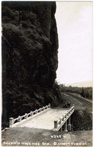 OR, Columbia Highway - Bridge with old car just approaching RPPC - R00313