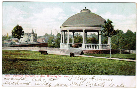 DE, Wilmington - Pavilion entrance to zoo, canon, gazebo - J03343