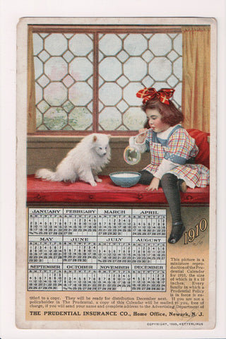 NJ, Newark - 1910 Calendar, girl blowing bubble, dog Advertisement - A06457