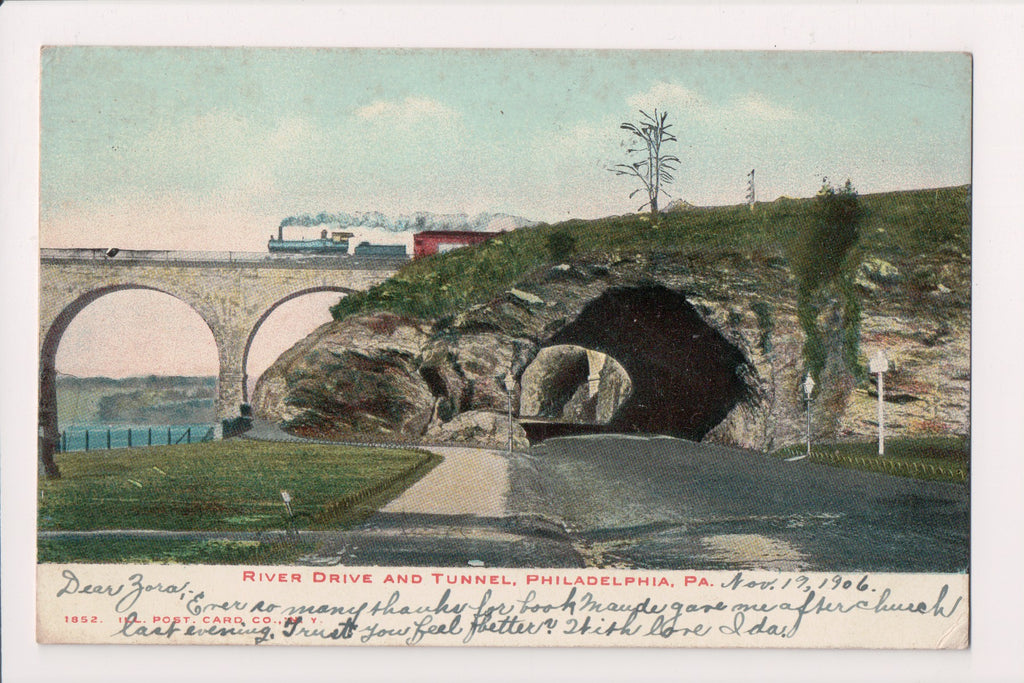 PA, Philadelphia - River Drive, Tunnel closeup, 1906 postcard - A06479