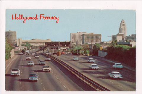 CA, Hollywood -  Hollywood Freeway - Highway signs, old cars postcard - A06917