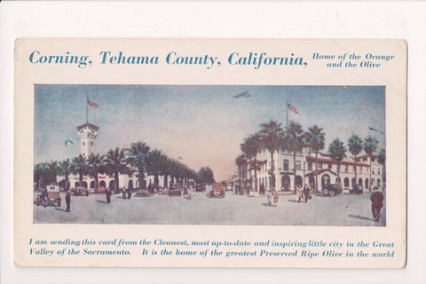 CA, Corning - Advertisement for town postcard - A06931