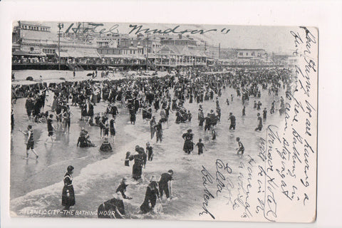 NJ, Atlantic City - beach scene, full bathing suits postcard - A06941