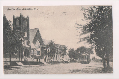 NJ, Arlington - Kearny Ave, Church, Trolly postcard - A06947