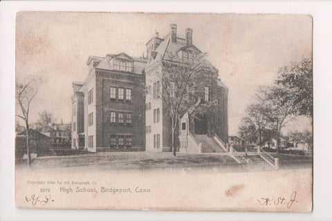 CT, Bridgeport - High School @1906 postcard - A10039