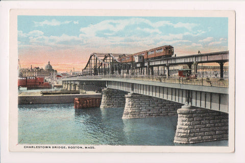 MA, Boston - Charlestown Bridge w/stats postcard - A12133
