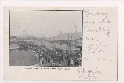CT, Danbury - MIDWAY, Fair postcard @1905 postcard - A12205