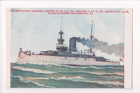 Ship, Boat or Steamer Postcard - ALABAMA, US Battleship w/stats - A12321