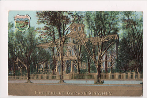 NV, Carson City - Capitol embellished in gold postcard - A12491