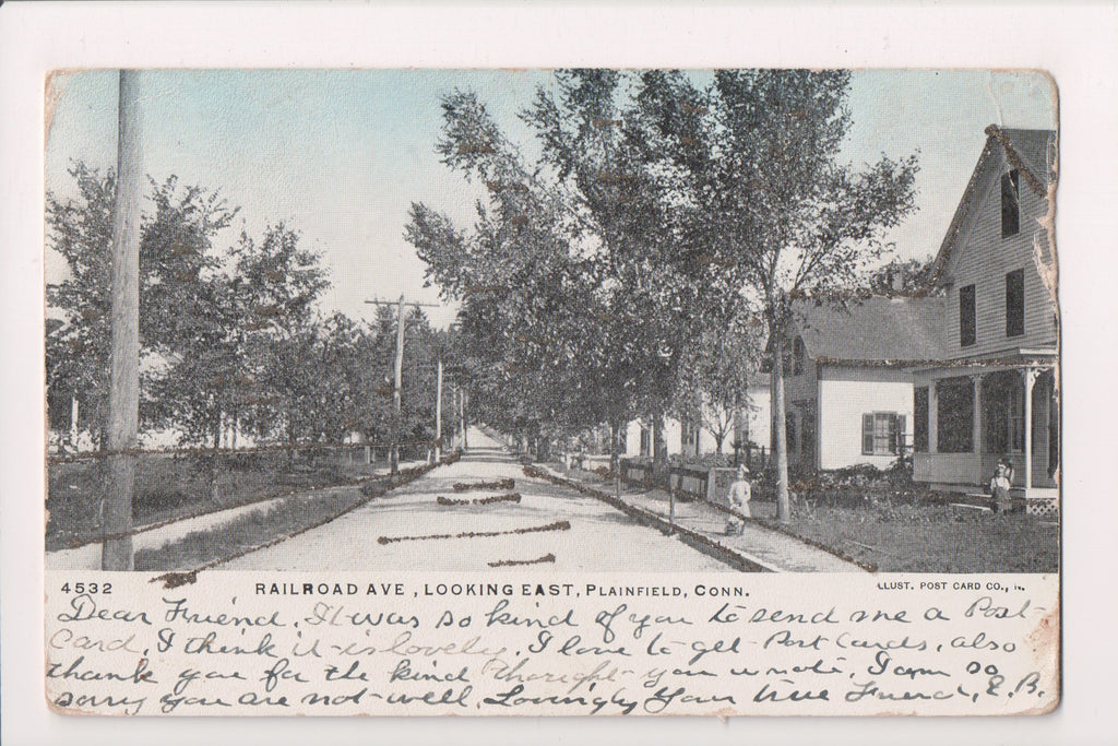 CT, Plainfield - Railroad Ave, people @1907 postcard - A12513