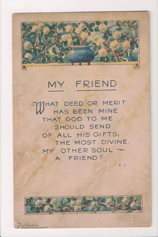 Greetings - Misc - Volland postcard #449 - MY FRIEND - A19004