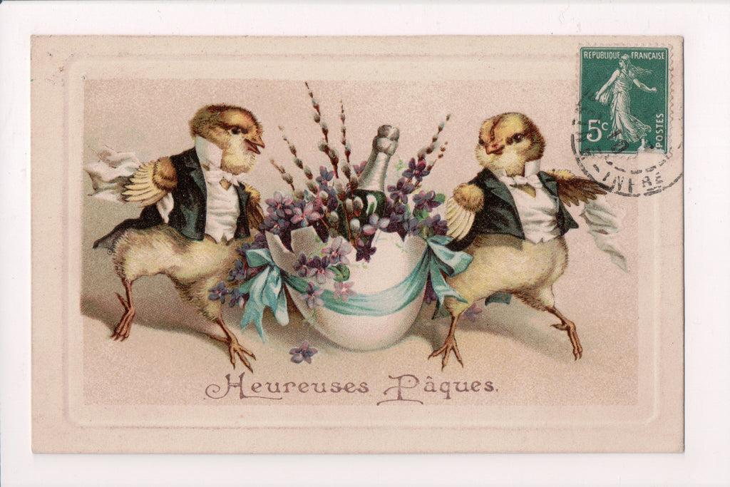 Easter postcard - couple of humanized chicks in tuxedo, with champagne - A19009