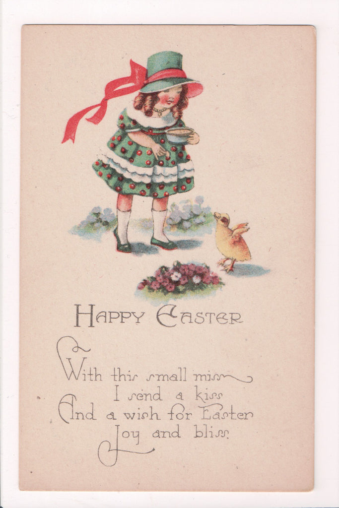 Easter postcard - girl with ringlets feeding a little chick - #1306 - A19017
