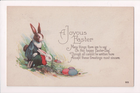Easter - A JOYOUS EASTER - Humanized rabbits in clothing - A19018