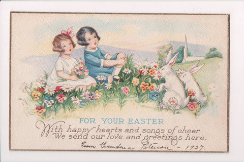 Easter - boy and girl with 2 rabbits - Series 1166D - A19028