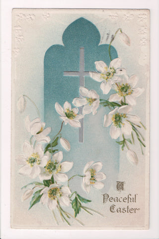 Easter - A PEACEFUL EASTER - cross and flowers - Winsch back - A19035