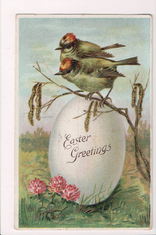 Easter - birds on a large egg postcard - A19036