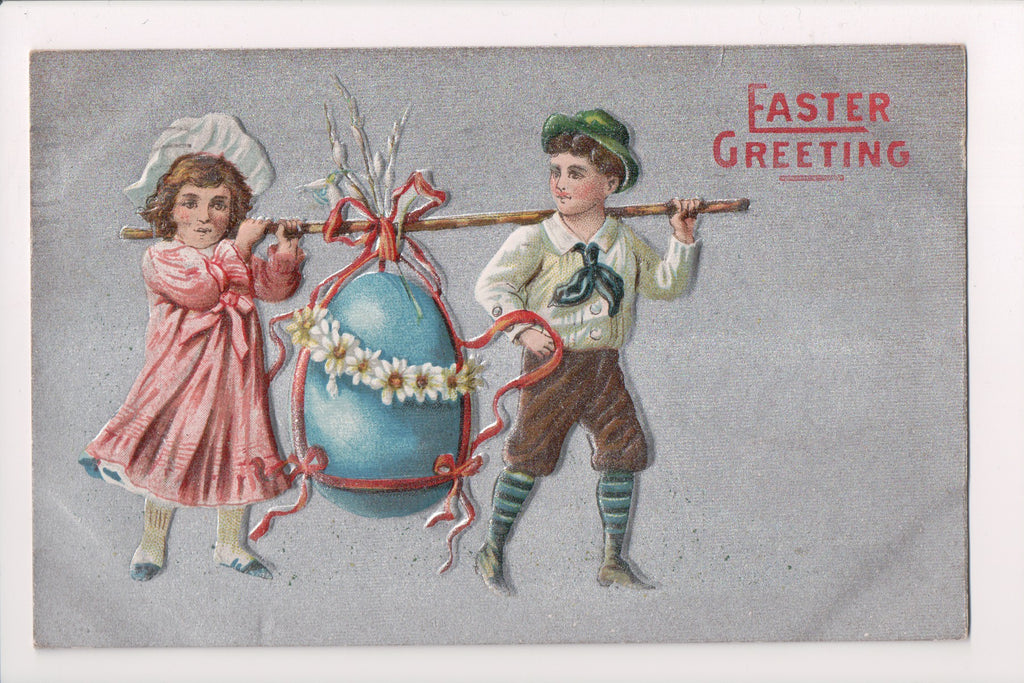 Easter postcard - boy and girl carrying large egg on stick - A19037