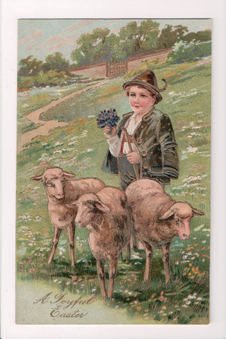 Easter - A Joyful Easter - Boy w/sheep - P Finkenrath card - A19038