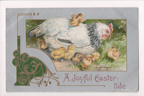 Easter - A JOYFUL EASTER-TIDE - hen and chicks - Winsch back - A19039