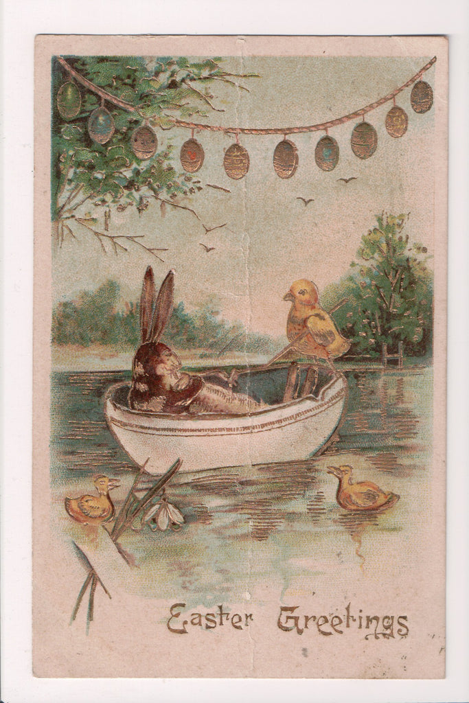 Easter - Rabbit and Chick in tea cup on water - A19041