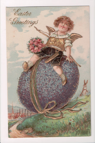 Easter - boy angel with wings sitting on large purple egg - A19046
