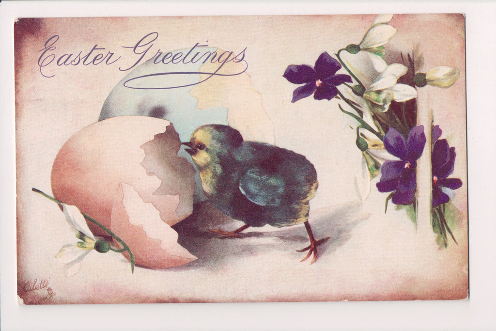 Easter - Chick and cracked egg - Tuck postcard - A19049