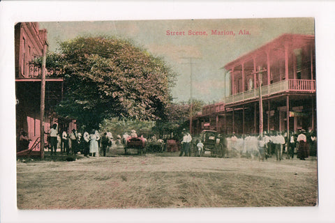 AL, Marion - Street Scene with people, wagons - postcard - G17064