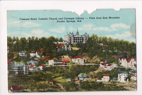 AR, Eureka Springs - Crescent Hotel, Catholic Church - z17065 - postcard **DAMAG