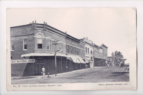 AR, Rogers - First Street View, First National Bank, Hardware Store - A06733