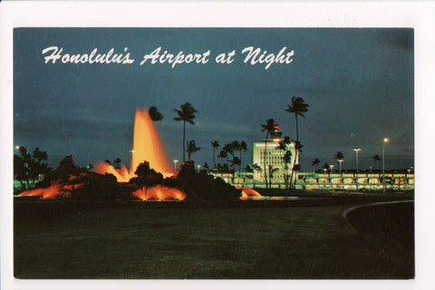HI, Honolulu - New Airport at night postcard - E04197