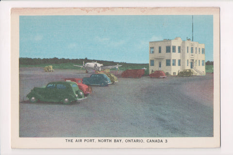 Canada - North Bay, ON - Airport, old cars, plane postcard - VT0317