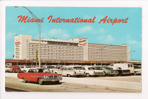 FL, Miami - International Airport postcard, Old cars incl Red VW Bug - w02842
