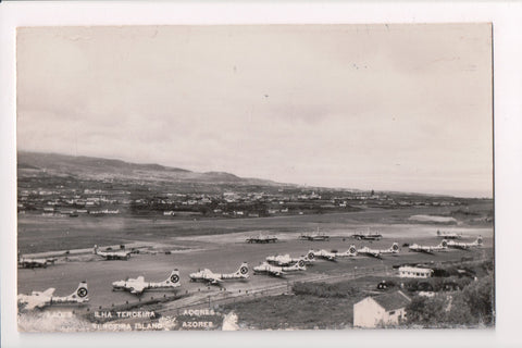 Foreign postcard - Terceira Island, Azores, Lagens, Lajes RPPC, airplanes - w037