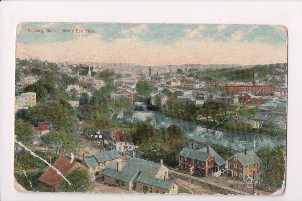 MA, Fitchburg - Bird Eye view postcard - B04251