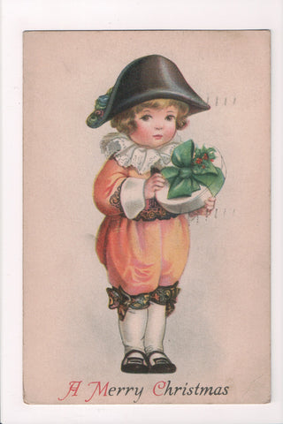 Xmas - A Merry Christmas - colonial boy with gift - Clapsaddle? No 5 - B17118