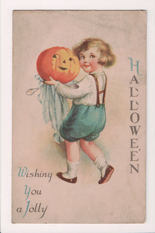 Halloween - Boy with pumpkin head - Clapsaddle postcard - B17130